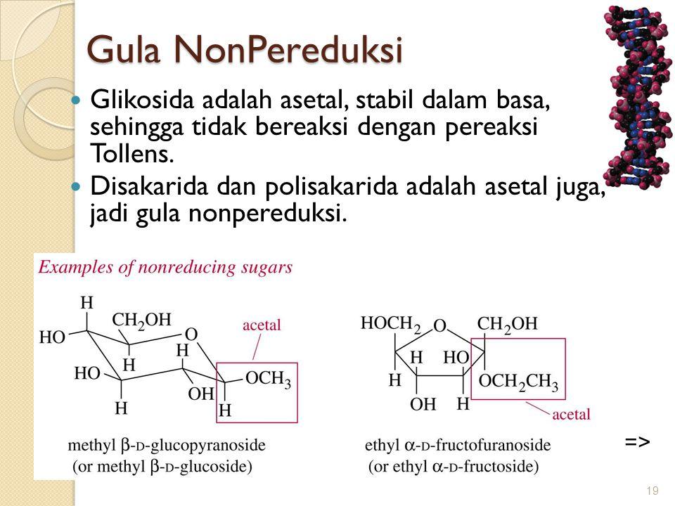 Gula NonPereduksi  Glikosida adalah asetal, stabil dalam basa, sehingga tidak bereaksi dengan pereaksi Tollens.  Disakarida dan polisakarida adalah