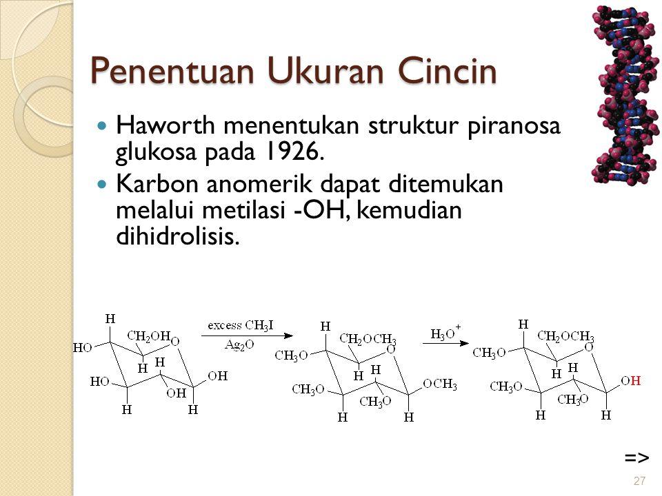 Penentuan Ukuran Cincin  Haworth menentukan struktur piranosa glukosa pada 1926.  Karbon anomerik dapat ditemukan melalui metilasi -OH, kemudian dih