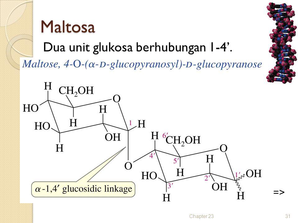Maltosa Dua unit glukosa berhubungan 1-4'. Chapter 2331 =>
