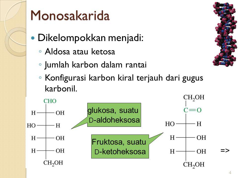 Monosakarida  Dikelompokkan menjadi: ◦ Aldosa atau ketosa ◦ Jumlah karbon dalam rantai ◦ Konfigurasi karbon kiral terjauh dari gugus karbonil. 4 gluk
