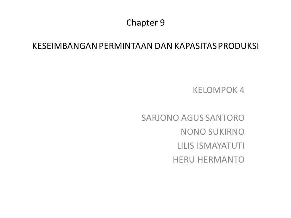 Chapter 9 KESEIMBANGAN PERMINTAAN DAN KAPASITAS PRODUKSI KELOMPOK 4 SARJONO AGUS SANTORO NONO SUKIRNO LILIS ISMAYATUTI HERU HERMANTO