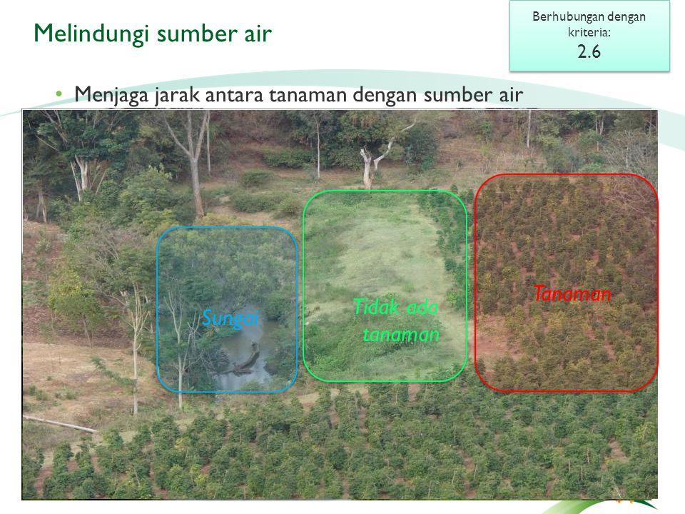 Melindungi sumber air Berhubungan dengan kriteria: 2.6 Berhubungan dengan kriteria: 2.6 Tabel jarak (hal.