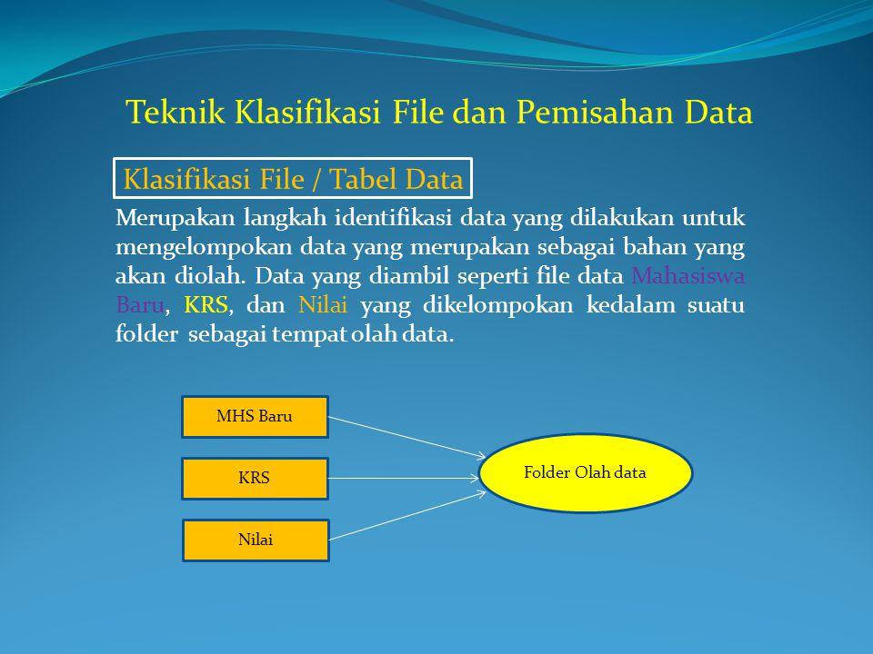 Klasifikasi File / Tabel Data Merupakan langkah identifikasi data yang dilakukan untuk mengelompokan data yang merupakan sebagai bahan yang akan diola