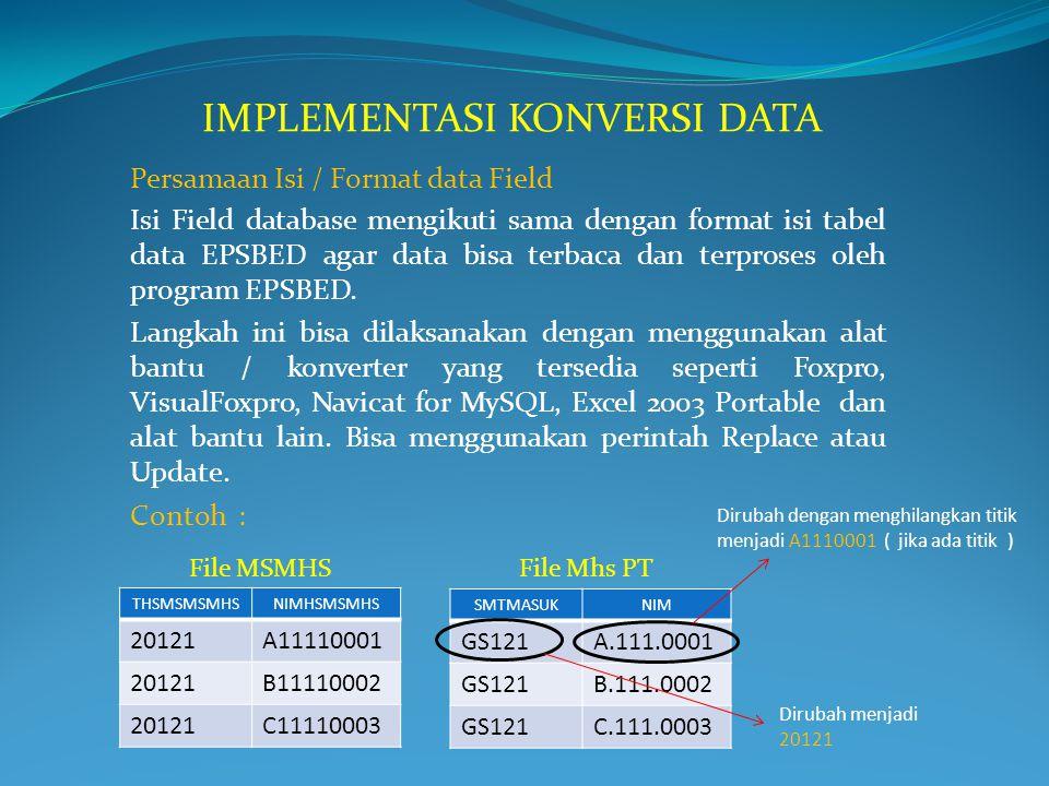 Persamaan Isi / Format data Field Isi Field database mengikuti sama dengan format isi tabel data EPSBED agar data bisa terbaca dan terproses oleh prog