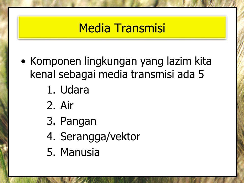 Media Transmisi •Komponen lingkungan yang lazim kita kenal sebagai media transmisi ada 5 1.Udara 2.Air 3.Pangan 4.Serangga/vektor 5.Manusia