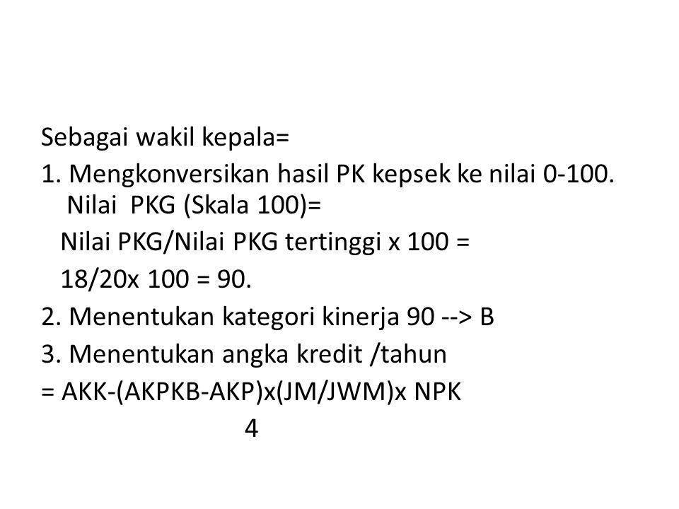 Sebagai wakil kepala= 1. Mengkonversikan hasil PK kepsek ke nilai 0-100. Nilai PKG (Skala 100)= Nilai PKG/Nilai PKG tertinggi x 100 = 18/20x 100 = 90.