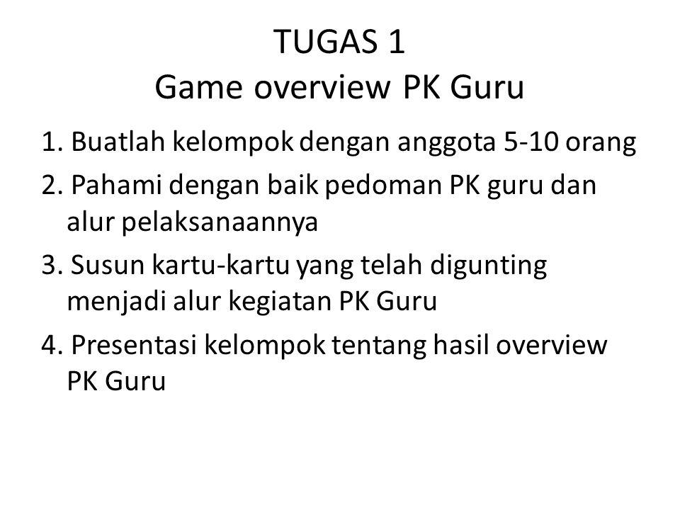 TUGAS 1 Game overview PK Guru 1. Buatlah kelompok dengan anggota 5-10 orang 2. Pahami dengan baik pedoman PK guru dan alur pelaksanaannya 3. Susun kar