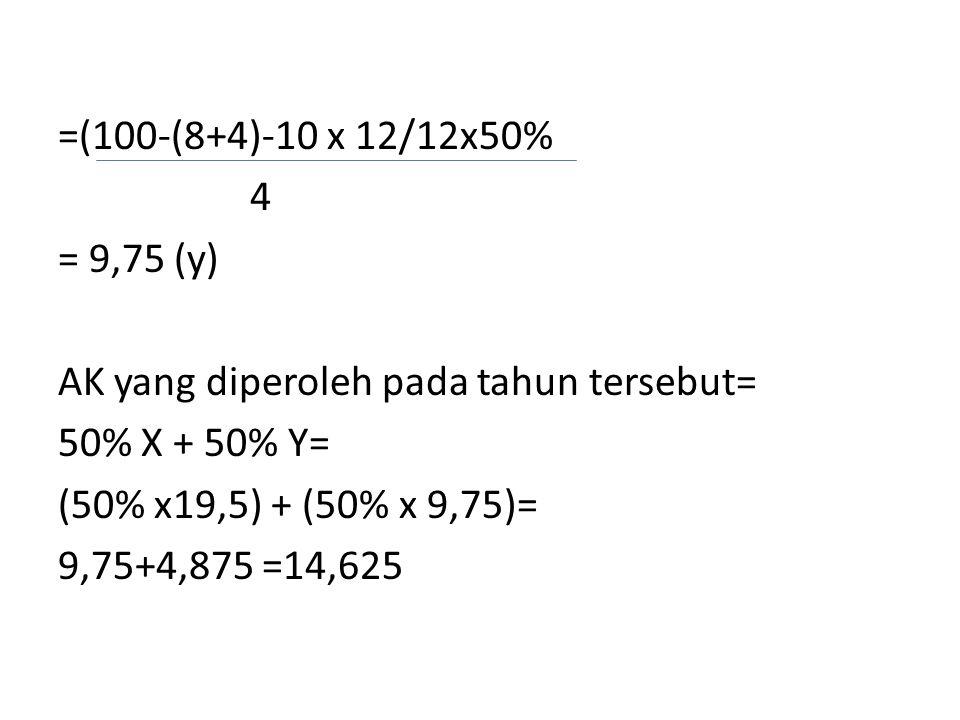 =(100-(8+4)-10 x 12/12x50% 4 = 9,75 (y) AK yang diperoleh pada tahun tersebut= 50% X + 50% Y= (50% x19,5) + (50% x 9,75)= 9,75+4,875 =14,625