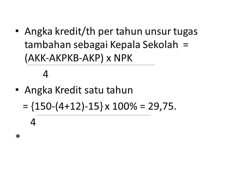 • Angka kredit/th per tahun unsur tugas tambahan sebagai Kepala Sekolah = (AKK‐AKPKB‐AKP) x NPK 4 • Angka Kredit satu tahun = {150‐(4+12)‐15} x 100% = 29,75.