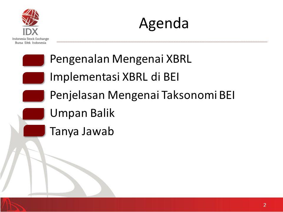 Agenda • Pengenalan Mengenai XBRL • Implementasi XBRL di BEI • Penjelasan Mengenai Taksonomi BEI • Umpan Balik • Tanya Jawab 2