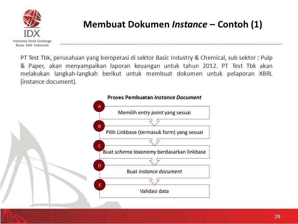Membuat Dokumen Instance – Contoh (1) 29 PT Test Tbk, perusahaan yang beroperasi di sektor Basic Industry & Chemical, sub sektor : Pulp & Paper, akan