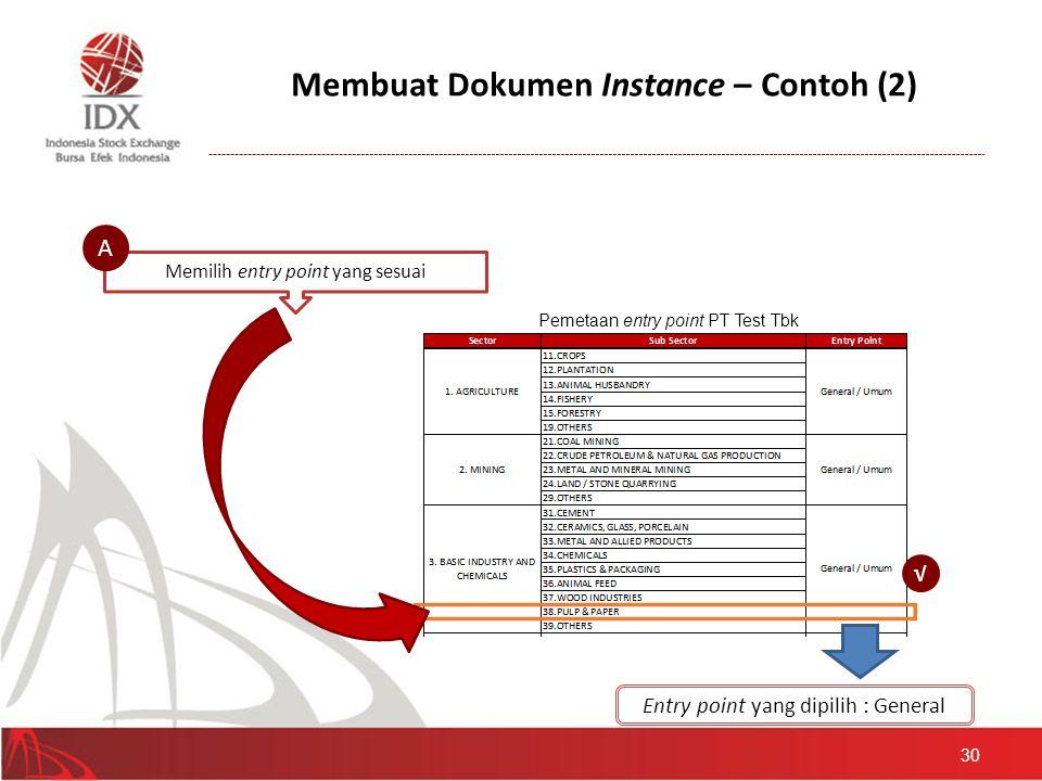 Membuat Dokumen Instance – Contoh (2) 30 Memilih entry point yang sesuai A Pemetaan entry point PT Test Tbk √ Entry point yang dipilih : General