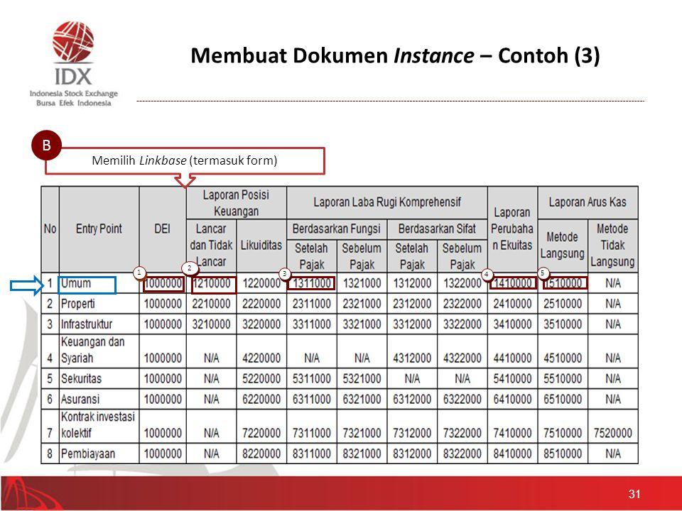 Membuat Dokumen Instance – Contoh (3) 31 Memilih Linkbase (termasuk form) B 1 1 2 2 3 3 4 4 5 5