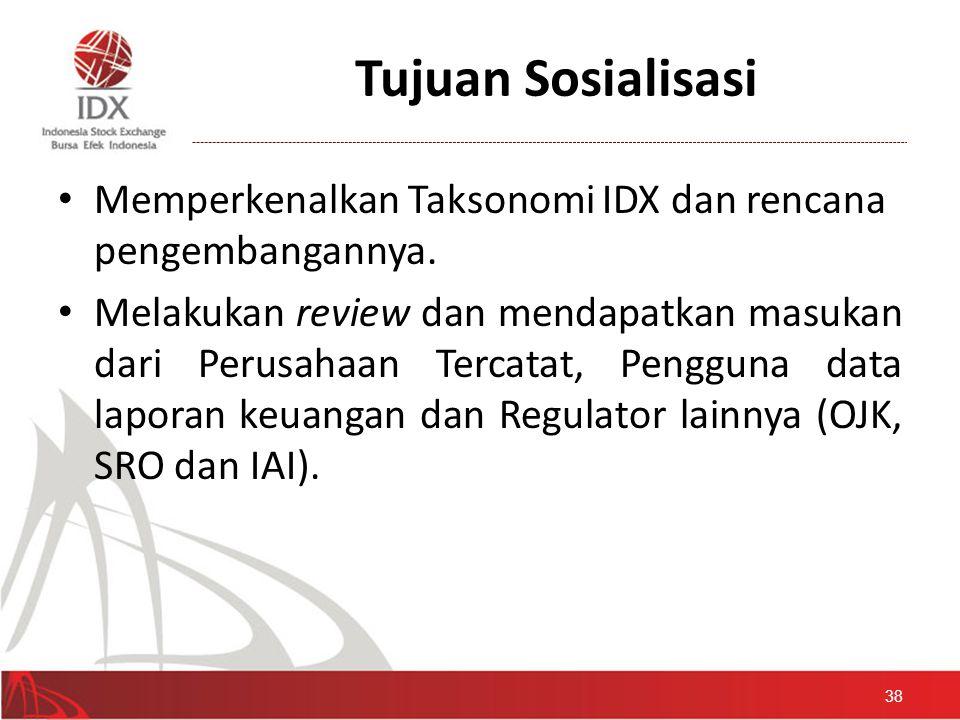Tujuan Sosialisasi • Memperkenalkan Taksonomi IDX dan rencana pengembangannya. • Melakukan review dan mendapatkan masukan dari Perusahaan Tercatat, Pe
