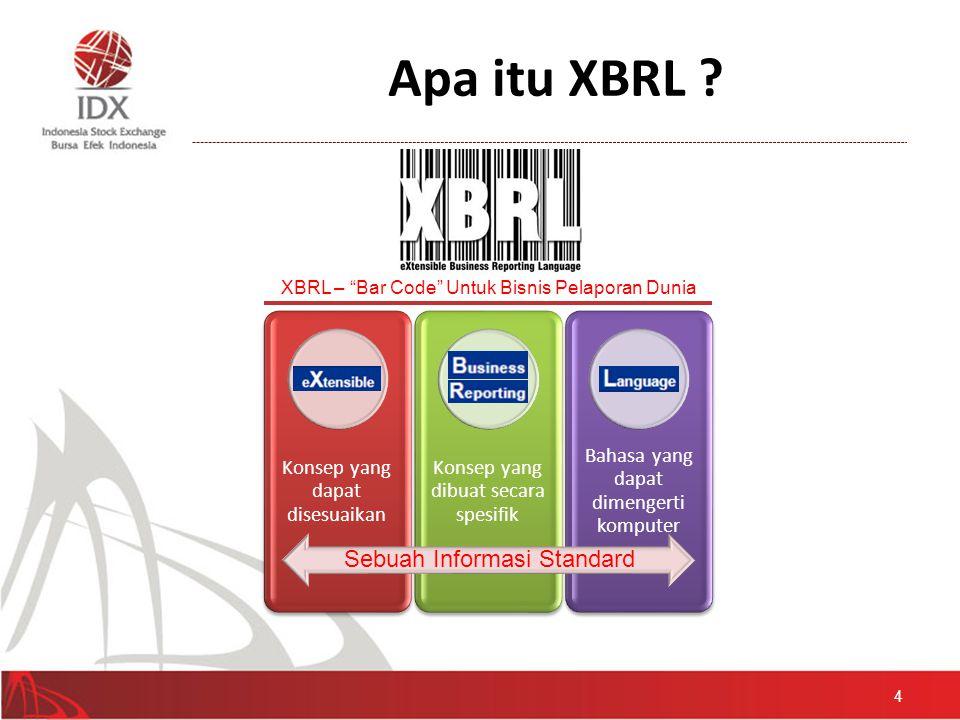 Apa itu XBRL ? 4 Konsep yang dapat disesuaikan Konsep yang dibuat secara spesifik Bahasa yang dapat dimengerti komputer Sebuah Informasi Standard XBRL