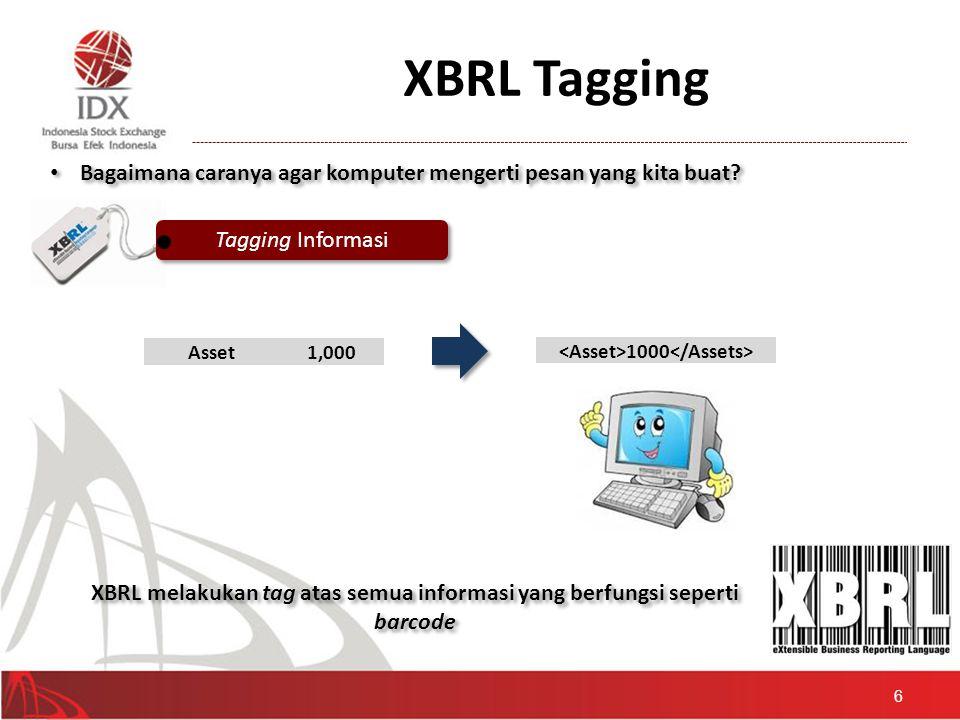 XBRL Tagging 6 • Bagaimana caranya agar komputer mengerti pesan yang kita buat? Tagging Informasi Asset1,000 1000 XBRL melakukan tag atas semua inform