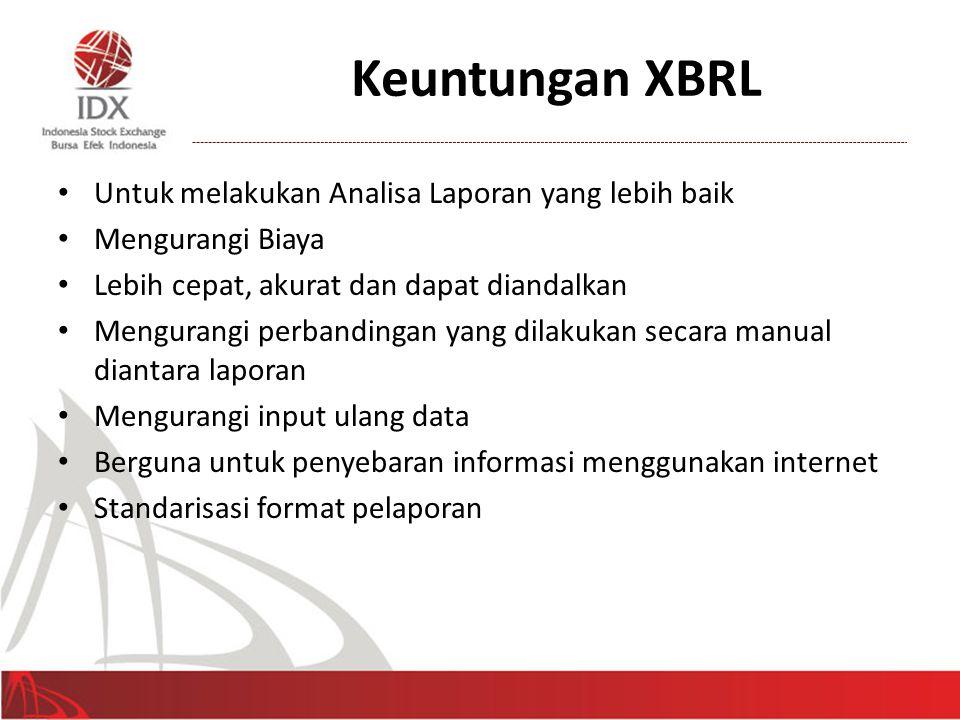 Keuntungan XBRL • Untuk melakukan Analisa Laporan yang lebih baik • Mengurangi Biaya • Lebih cepat, akurat dan dapat diandalkan • Mengurangi perbandin
