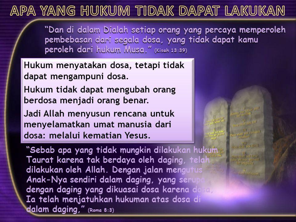 """""""Dan di dalam Dialah setiap orang yang percaya memperoleh pembebasan dari segala dosa, yang tidak dapat kamu peroleh dari hukum Musa."""" (Kisah 13:39) H"""