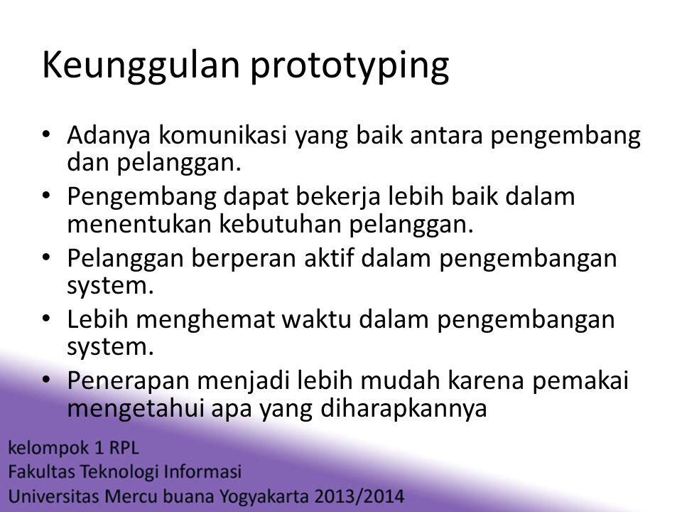 Keunggulan prototyping • Adanya komunikasi yang baik antara pengembang dan pelanggan. • Pengembang dapat bekerja lebih baik dalam menentukan kebutuhan