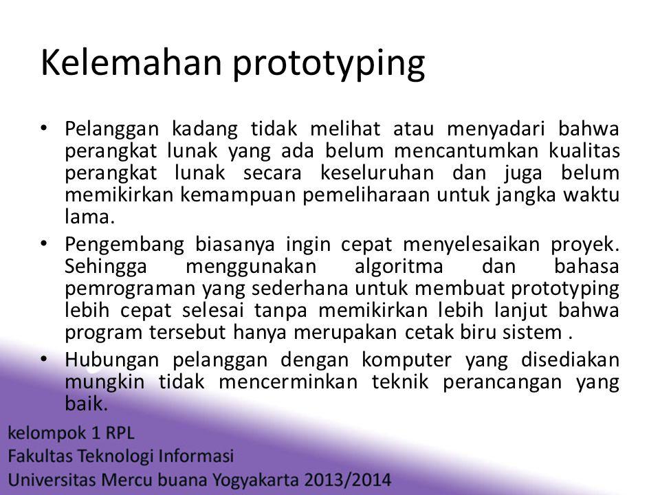 Kelemahan prototyping • Pelanggan kadang tidak melihat atau menyadari bahwa perangkat lunak yang ada belum mencantumkan kualitas perangkat lunak secar