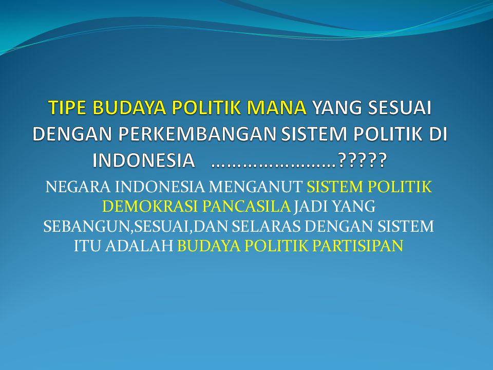 NEGARA INDONESIA MENGANUT SISTEM POLITIK DEMOKRASI PANCASILA JADI YANG SEBANGUN,SESUAI,DAN SELARAS DENGAN SISTEM ITU ADALAH BUDAYA POLITIK PARTISIPAN