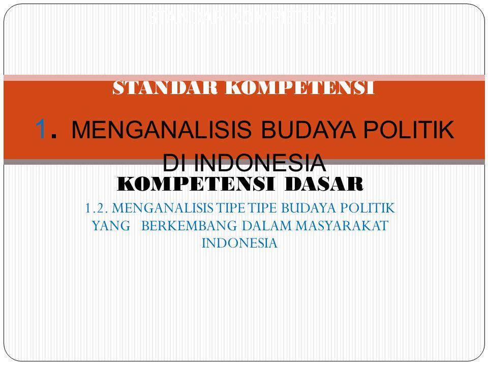KOMPETENSI DASAR 1.2. MENGANALISIS TIPE TIPE BUDAYA POLITIK YANG BERKEMBANG DALAM MASYARAKAT INDONESIA STANDAR KOMPETENSI STANDAR KOMPETENSI 1. MENGAN