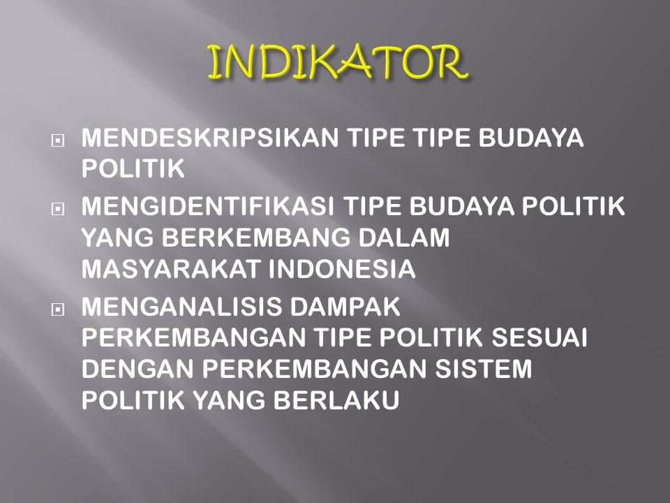  MENDESKRIPSIKAN TIPE TIPE BUDAYA POLITIK  MENGIDENTIFIKASI TIPE BUDAYA POLITIK YANG BERKEMBANG DALAM MASYARAKAT INDONESIA  MENGANALISIS DAMPAK PER