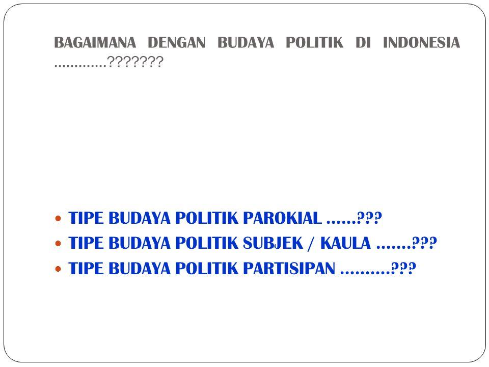 BAGAIMANA DENGAN BUDAYA POLITIK DI INDONESIA ………….???????  TIPE BUDAYA POLITIK PAROKIAL ……???  TIPE BUDAYA POLITIK SUBJEK / KAULA …….???  TIPE BUDA