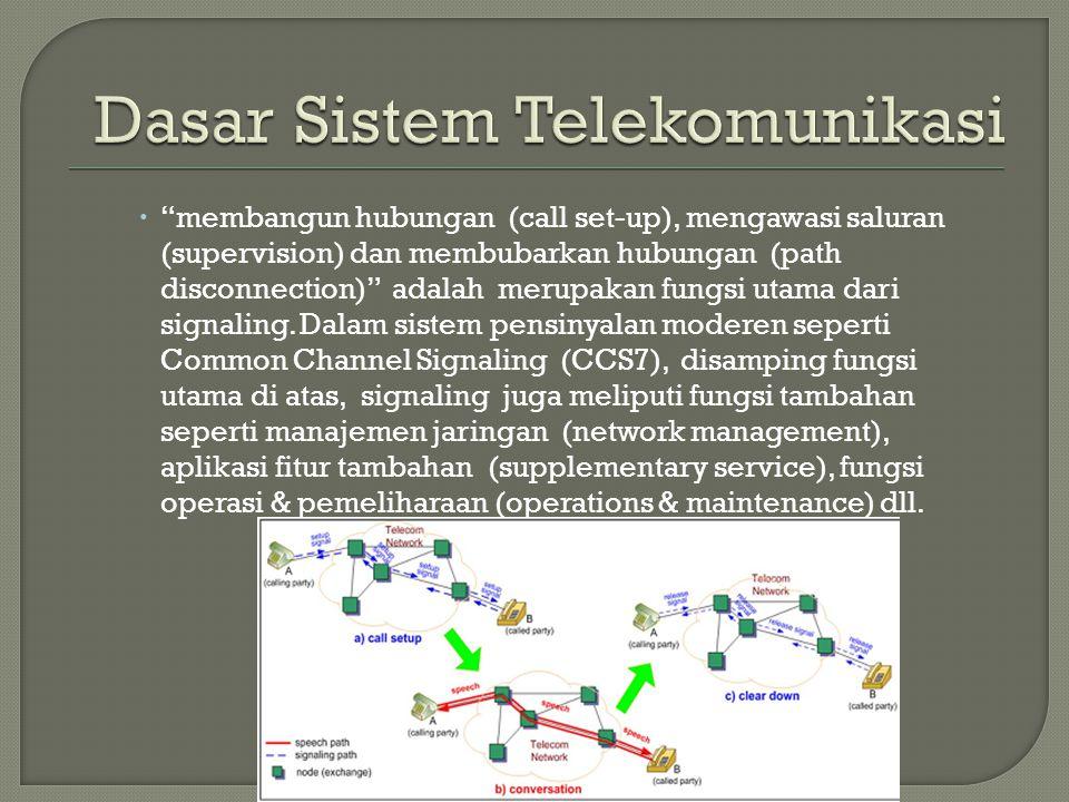 """ """"membangun hubungan (call set-up), mengawasi saluran (supervision) dan membubarkan hubungan (path disconnection)"""" adalah merupakan fungsi utama dari"""