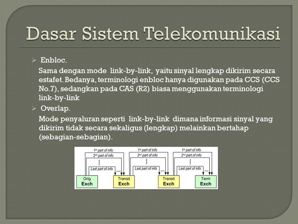  Enbloc. Sama dengan mode link-by-link, yaitu sinyal lengkap dikirim secara estafet. Bedanya, terminologi enbloc hanya digunakan pada CCS (CCS No.7),