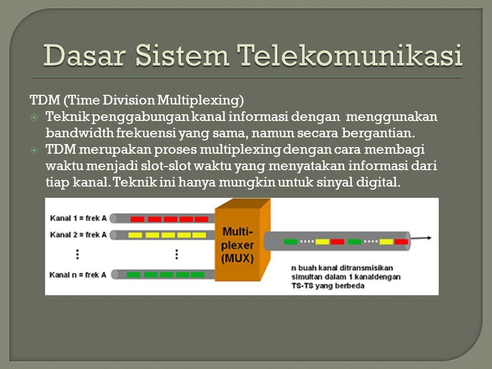 TDM (Time Division Multiplexing)  Teknik penggabungan kanal informasi dengan menggunakan bandwidth frekuensi yang sama, namun secara bergantian.  TD