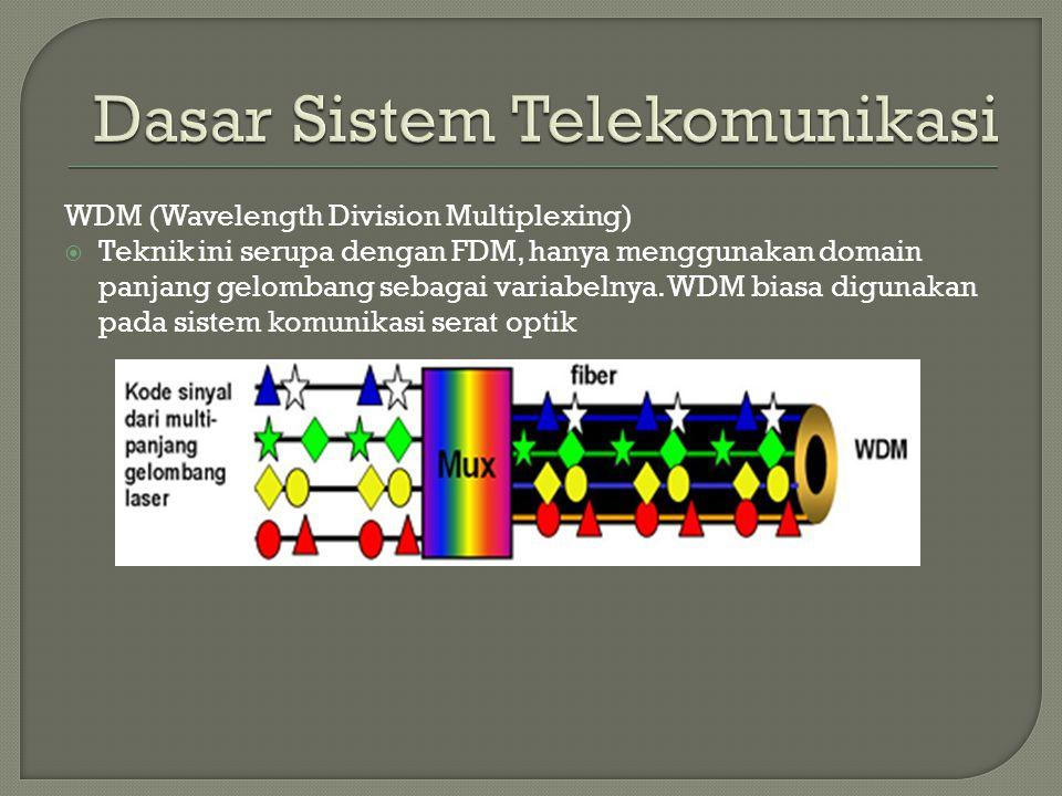 WDM (Wavelength Division Multiplexing)  Teknik ini serupa dengan FDM, hanya menggunakan domain panjang gelombang sebagai variabelnya. WDM biasa digun