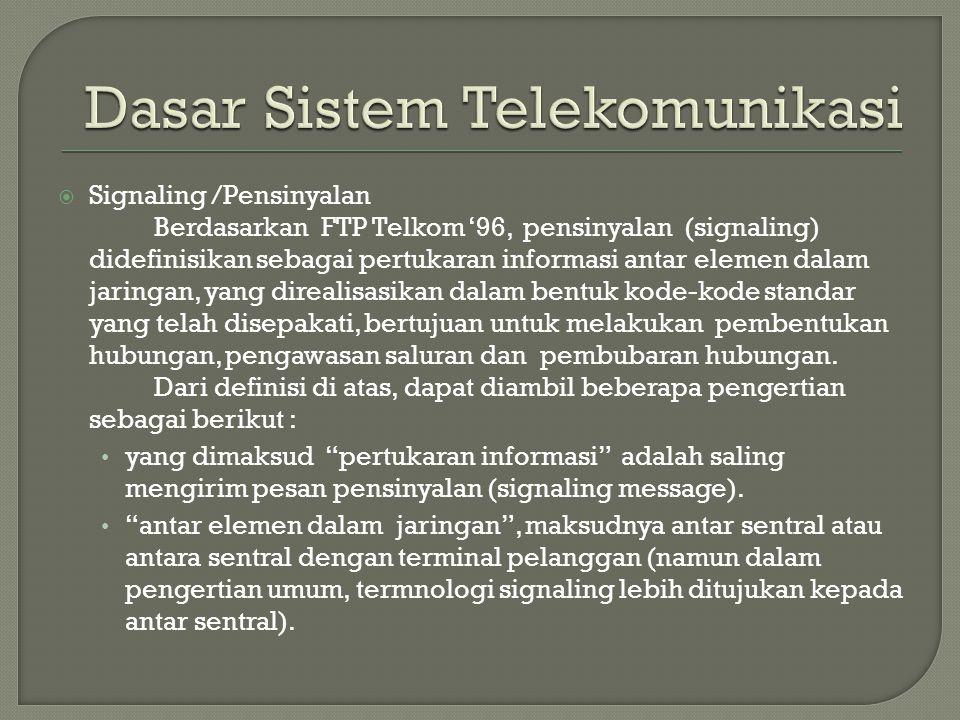  Signaling /Pensinyalan Berdasarkan FTP Telkom '96, pensinyalan (signaling) didefinisikan sebagai pertukaran informasi antar elemen dalam jaringan, y