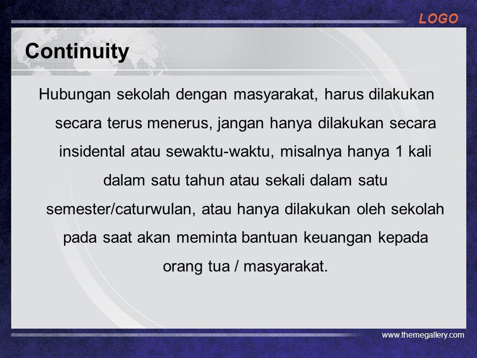 LOGO Continuity Hubungan sekolah dengan masyarakat, harus dilakukan secara terus menerus, jangan hanya dilakukan secara insidental atau sewaktu-waktu,