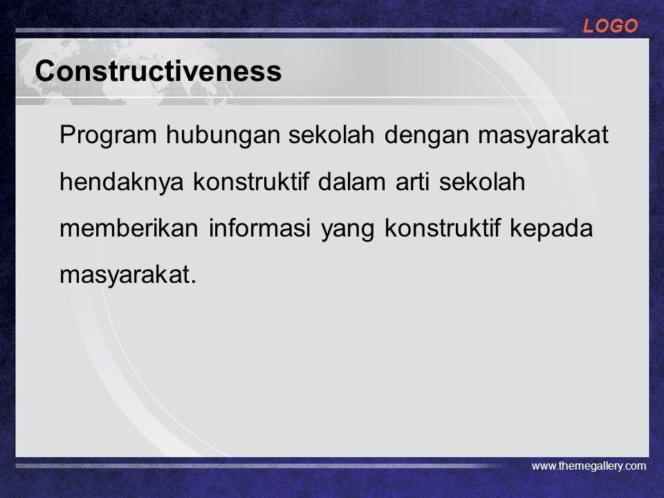 LOGO Constructiveness Program hubungan sekolah dengan masyarakat hendaknya konstruktif dalam arti sekolah memberikan informasi yang konstruktif kepada