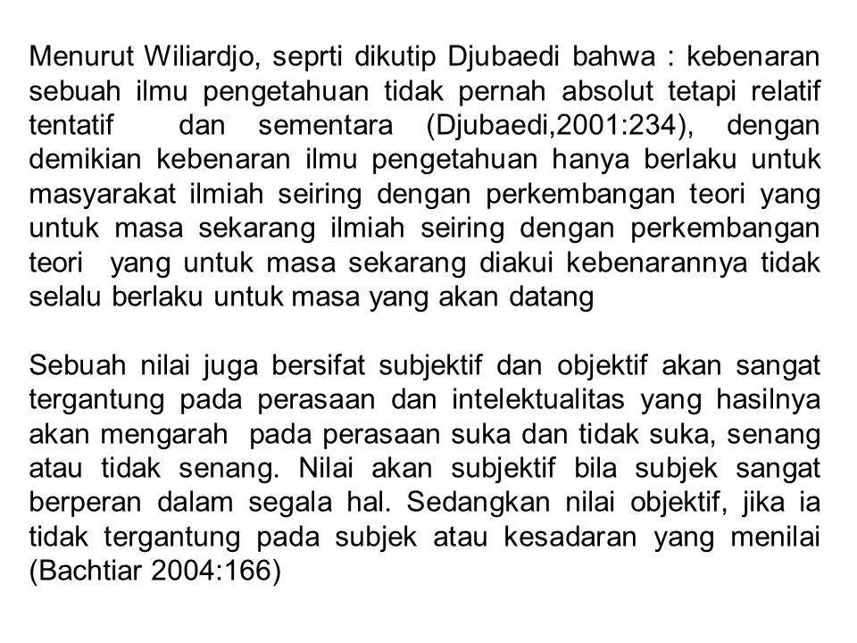 Menurut Wiliardjo, seprti dikutip Djubaedi bahwa : kebenaran sebuah ilmu pengetahuan tidak pernah absolut tetapi relatif tentatif dan sementara (Djuba