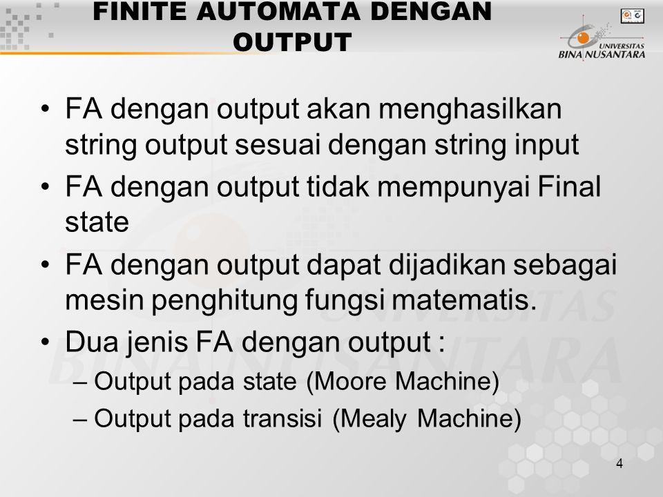5 FINITE AUTOMATA DENGAN OUTPUT 1.