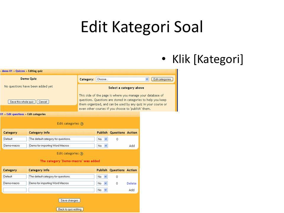 Edit Kategori Soal • Klik [Kategori]
