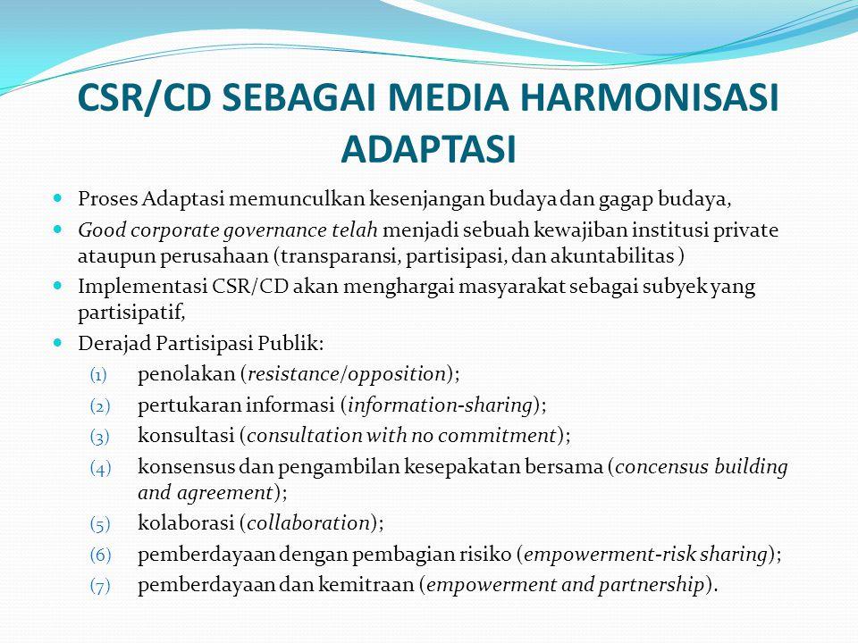 CSR/CD SEBAGAI MEDIA HARMONISASI ADAPTASI  Proses Adaptasi memunculkan kesenjangan budaya dan gagap budaya,  Good corporate governance telah menjadi sebuah kewajiban institusi private ataupun perusahaan (transparansi, partisipasi, dan akuntabilitas )  Implementasi CSR/CD akan menghargai masyarakat sebagai subyek yang partisipatif,  Derajad Partisipasi Publik: (1) penolakan (resistance/opposition); (2) pertukaran informasi (information-sharing); (3) konsultasi (consultation with no commitment); (4) konsensus dan pengambilan kesepakatan bersama (concensus building and agreement); (5) kolaborasi (collaboration); (6) pemberdayaan dengan pembagian risiko (empowerment-risk sharing); (7) pemberdayaan dan kemitraan (empowerment and partnership).