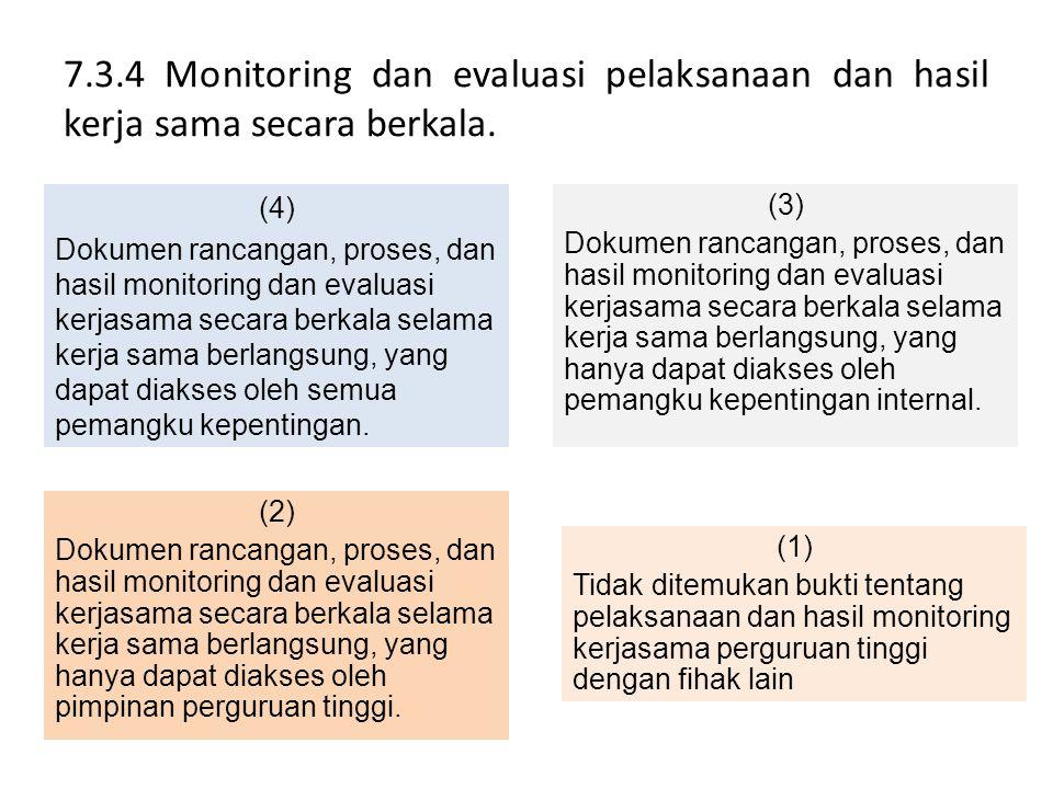 7.3.4 Monitoring dan evaluasi pelaksanaan dan hasil kerja sama secara berkala. (4) Dokumen rancangan, proses, dan hasil monitoring dan evaluasi kerjas