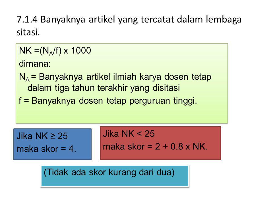 7.1.4 Banyaknya artikel yang tercatat dalam lembaga sitasi. NK =(N A /f) x 1000 dimana: N A = Banyaknya artikel ilmiah karya dosen tetap dalam tiga ta