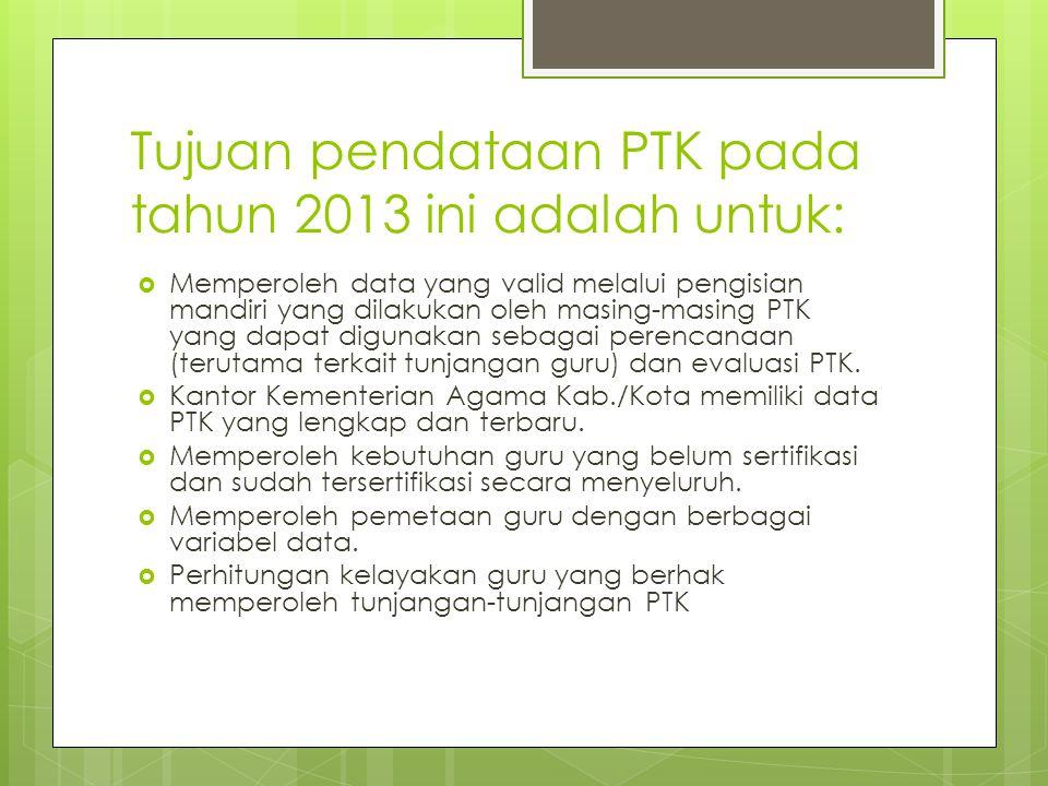 Lingkup Pendataan PTK dengan Formulir Digital ini meliputi  Guru PNS  Guru Non PNS  Tenaga Kependidikan pada jenjang RA, MI, MTs, dan MA baik negeri maupun swasta serta Pengawas Madrasah di Lingkungan Kementerian Agama Provinsi Jawa Timur dengan waktu pendataan dilakukan mulai tanggal 23 Agustus 2013 sampai 4 Oktober 2013.