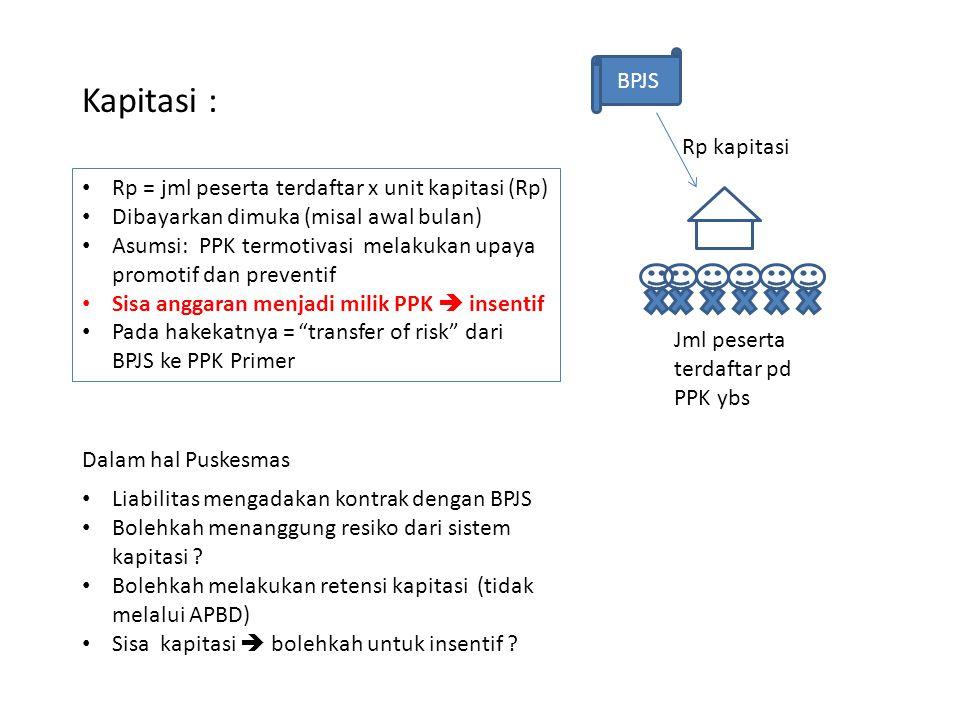 Kapitasi : • Rp = jml peserta terdaftar x unit kapitasi (Rp) • Dibayarkan dimuka (misal awal bulan) • Asumsi: PPK termotivasi melakukan upaya promotif