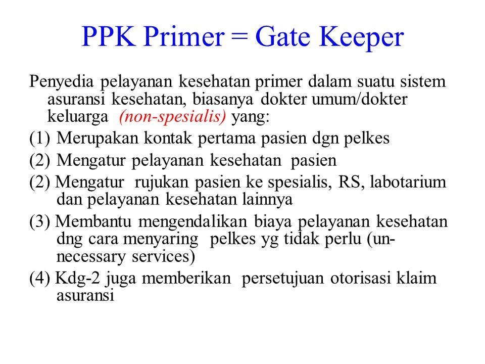 PPK Primer = Gate Keeper Penyedia pelayanan kesehatan primer dalam suatu sistem asuransi kesehatan, biasanya dokter umum/dokter keluarga (non-spesiali