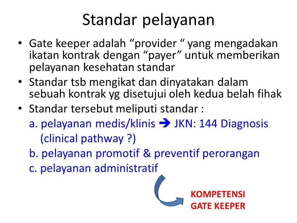 """Standar pelayanan • Gate keeper adalah """"provider """" yang mengadakan ikatan kontrak dengan """"payer"""" untuk memberikan pelayanan kesehatan standar • Standa"""