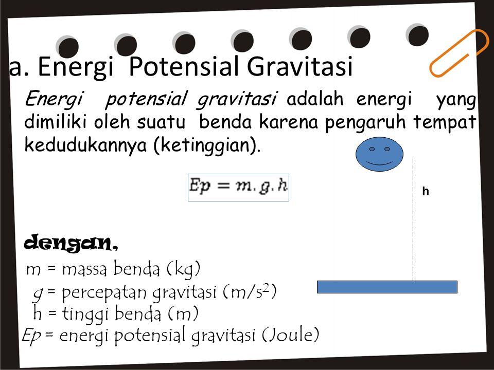 Energi potensial gravitasi adalah energi yang dimiliki oleh suatu benda karena pengaruh tempat kedudukannya (ketinggian). a. Energi Potensial Gravitas