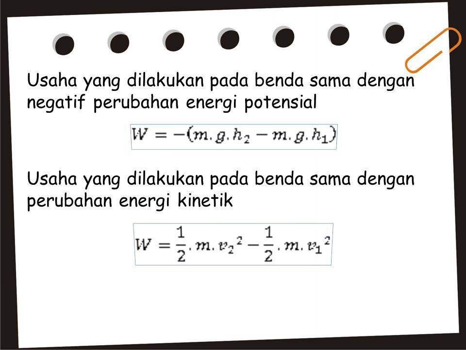 Usaha yang dilakukan pada benda sama dengan negatif perubahan energi potensial Usaha yang dilakukan pada benda sama dengan perubahan energi kinetik