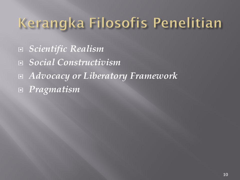  Scientific Realism  Social Constructivism  Advocacy or Liberatory Framework  Pragmatism 10