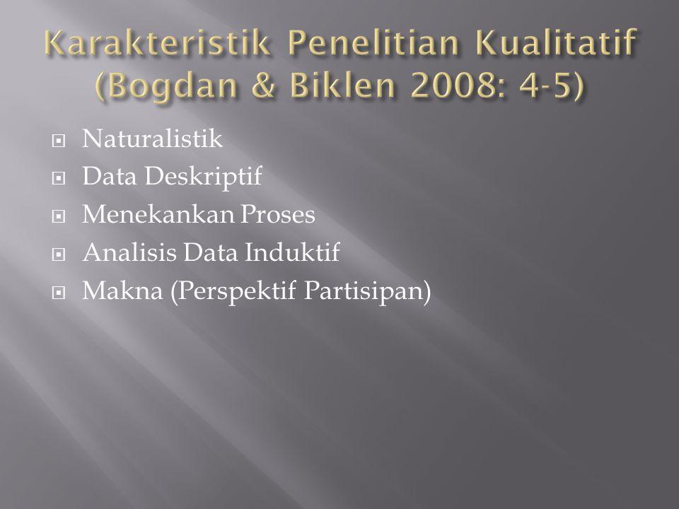  Naturalistik  Data Deskriptif  Menekankan Proses  Analisis Data Induktif  Makna (Perspektif Partisipan)