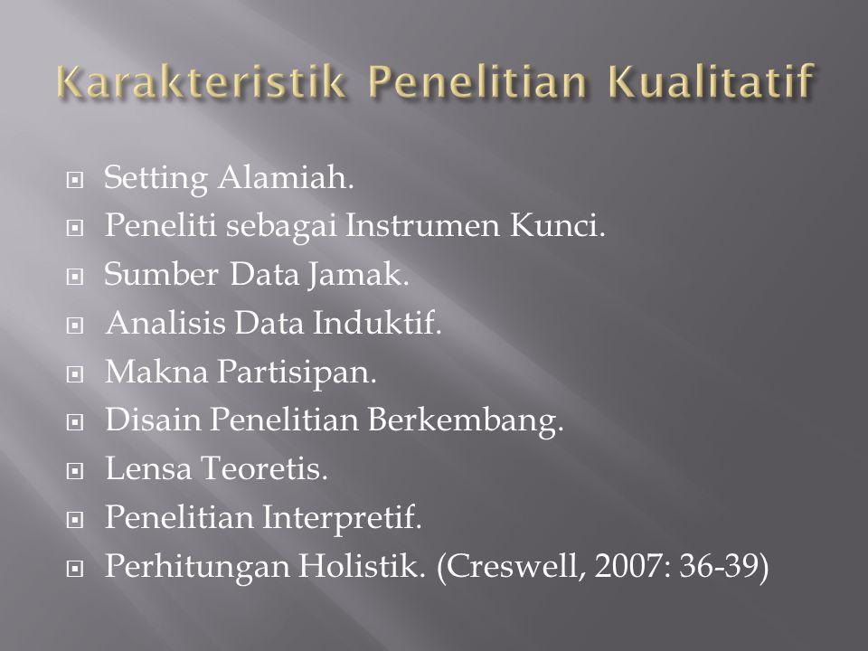  Setting Alamiah.  Peneliti sebagai Instrumen Kunci.  Sumber Data Jamak.  Analisis Data Induktif.  Makna Partisipan.  Disain Penelitian Berkemba